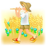 Illustration of little boy playing the pipe. Royalty Free Stock Photography