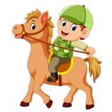 Little boy riding a pony horse. Illustration of Little boy riding a pony horse stock illustration