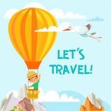 Illustration of little boy traveler flying on air balloon in the sky. Stock Photos