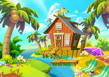 Illustration: Little Cabin on the Island. Cabin, Coconut Tree, Beach Chair. Fantastic Realistic Cartoon Style Scene / Wallpaper / Background Design royalty free illustration