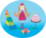Illustration of little fairy with cake gifts and flowers Royalty Free Stock Images