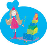 Illustration of little fairy gift and flowers Stock Images