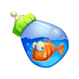 Illustration: Little Fish Swimming in the Milk Bottle. Royalty Free Stock Image