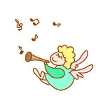 Illustration of the little flying angel with flute and note. On a white background Stock Image