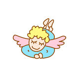 Illustration of little flying angel. On a white background Stock Photo
