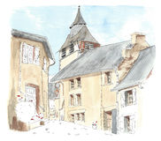 Illustration little French village Royalty Free Stock Photography