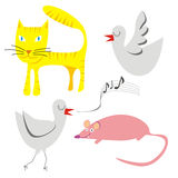 Illustration of little funny animals Royalty Free Stock Photos