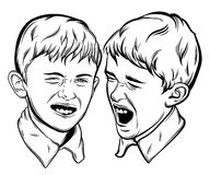 Illustration of little funny  emotional boys made in hand drawn realistic style. Stock Photo
