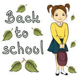 illustration of little girl with bag, back to school banner inscription isolated on white background Stock Images