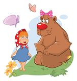 Illustration of the Little Girl and the Big Bear. Cartoon Stock Images