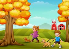 Little girl and boy walking with his dogs in farm background. Illustration of Little girl and boy walking with his dogs in farm background Royalty Free Stock Photo