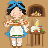 Girl cook with small Italian pizza Stock Photos