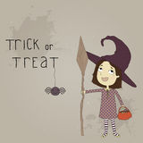 Illustration of a little girl dressed as a witch.  Royalty Free Stock Photography