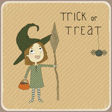 Illustration of a little girl dressed as a witch. Stock Photography