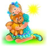 Illustration of little girl holding teddy bear. Royalty Free Stock Image