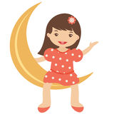 Little girl sitting on the moon Stock Photo