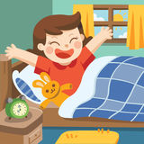 Illustration of A Little girl wake up in the morning. Royalty Free Stock Image