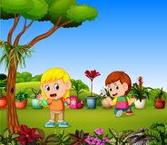 Little girl watering plants and a boy planting in a garden. Illustration of Little girl watering plants and a boy planting in a garden stock illustration