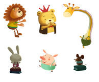Illustration: Little Happy Animal Friends. The Bear, The Lion, The Rabbit, The Mouse, The Pig and The Giraffe. Realistic Fantastic Cartoon Style Scene / stock illustration
