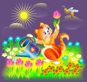 Illustration of little kitten watering spring flowers. Stock Photos