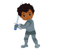 Illustration of little knight. He holds a sword in battle. Stock Images