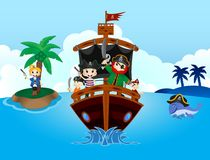 Illustration of little pirates sail with the ship Royalty Free Stock Photos