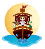 Illustration of little pirates sail with the ship Royalty Free Stock Image
