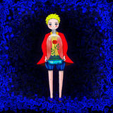 Illustration of Little prince and his rose Stock Photography