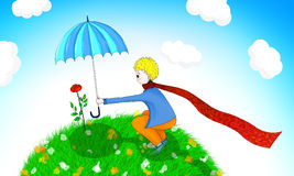 Illustration of Little prince and his rose. Little prince holding sun umbrella for his rose Stock Images