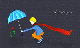 Illustration of Little prince and his rose. Little prince holding umbrella for his rose in rain Stock Image