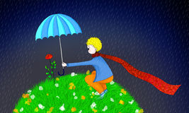 Illustration of Little prince and his rose. Little prince holding umbrella for his rose in rain Royalty Free Stock Photo