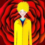 Illustration of Little prince and his rose Stock Photo