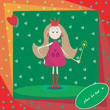 Illustration of little princess with magic wand Royalty Free Stock Photos