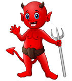 Little red devil waving. Illustration of Little red devil waving Royalty Free Stock Photo