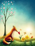 Illustration of a little red fox stock illustration