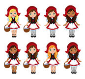 Illustration of little red riding hood. Big multicultural set. Royalty Free Stock Images