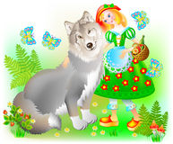 Illustration of little Red Riding Hood with a gray wolf. vector illustration
