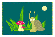 Illustration Little snail and the mushrooms Royalty Free Stock Photography