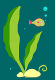 Illustration Little fish exploring the world Royalty Free Stock Photos