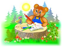 Illustration of little teddy bear learning to write. Stock Photography