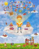 Illustration of little young ginger boy reading a book on cloud. Many books on a glade ,objects flying out .Concept art vector illustration