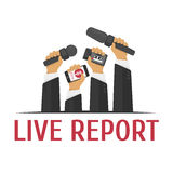 Illustration live report. Vector illustration live report concept, live news, hands of journalists with microphones and tape recorders Royalty Free Stock Photos