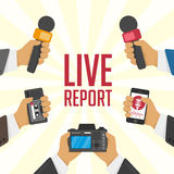Illustration live report. Vector live report concept, live news, hands of journalists with microphones and tape recorders Stock Photos