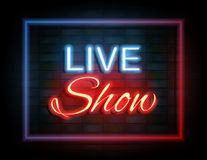 Live show neon sign on brick wall Stock Image
