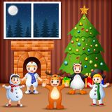 Living room decoration for christmas and new year with kids wear christmas costume. Illustration of Living room decoration for christmas and new year with kids Stock Photography