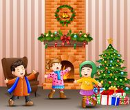 Living room decoration for christmas and new year with singing kids. Illustration of Living room decoration for christmas and new year with singing kids vector illustration