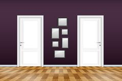 Living room interior with closed door and empty frames on the purple wall. Illustration of Living room interior with closed door and empty frames on the purple Royalty Free Stock Photography
