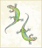 Illustration lizard. Greeting card with two gecko. Royalty Free Stock Photos