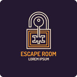 Illustration of lock and key. Real-life room escape and quest game logo. Illustration of lock and key. Real-life room escape and quest game emblem vector illustration