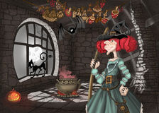 Illustration with a lock and a witch Stock Photo